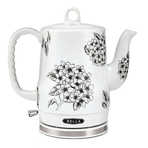 (BELLA (13622) 1.2 Liter Electric Ceramic Tea Kettle with Detachable Base & Boil Dry Protection, Black Floral)