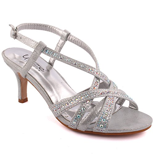 Unze Mujeres 'Chyna' Diamante Embellecido Peep-Toe mediados de alto Tacón de aguja Evening Party Carnaval Junte Brunch Wedding Talones Sandalias Court Shoes Tamaño 3-8 Plateado