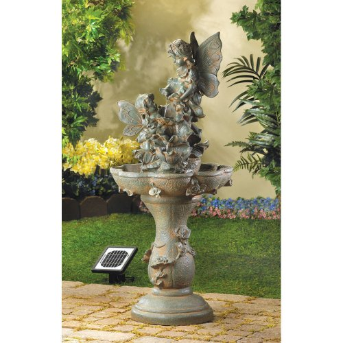 SOLAR KIDS FAIRY STATUE VERDIGRIS OUTDOOR GARDEN BIRD BATH WATER FOUNTAIN