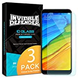 Ringke Tempered Glass Screen Protector Compatible with Xiaomi Redmi 5 Plus Invisible Defender [3-Pack] Case Compatible Ultimate Clear Shield, High Definition Quality, 9H Hardness Technology