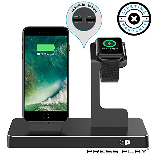 ONE Dock (APPLE CERTIFIED) Power Station Dock, Stand & Built-In Lightning Charger for Apple Watch Smart Watch (Series 1,2,3, Nike+), iPhone X/10/8/8 Plus/7/7Plus/6s/6s, iPad & iPod (Aluminum) – Black - Station Charger Stand