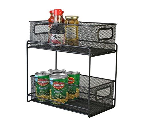 Artestia 2-Tier Mesh Steel Double Sliding Cabinet Basket Organizer / Drawer (Black)