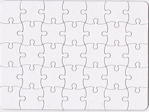 Nextnol 35 PCS Blank Puzzle,White DIY puzzle,Custom jigsaw puzzle,Blank jigsaw puzzle,Size:8.5 inchcm and 11 inch. -