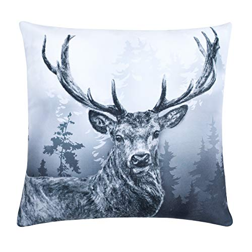 (YINFUNG Deer Pillow Covers Couch 18x18 Reindeer Elk Head Throw Pillow Cover Antler Forest Grey Pillow Cases Sofa Neutral Foggy Modern Art Vintage Wilderness Patterned Decorative Winter Gloomy Animal)