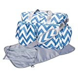 Trend Lab Chevron Deluxe Duffle Diaper Bag, Blue/White