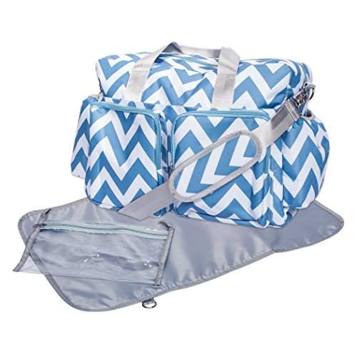 picture of Trend Lab Chevron Deluxe Duffle Diaper Bag, Blue/White
