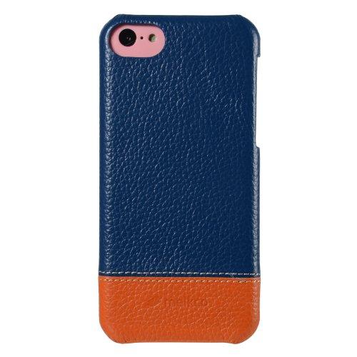 Melkco APIPONLOLT2DBOELC Mix and Match Line Leder Snap Case für Apple iPhone 5C dunkel blau/orange