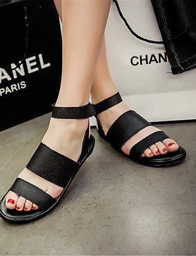 ShangYi Women's Shoes Leatherette Flat Heel Mary Sandals Office  Career / Party  Evening / Dress / Casual Black...