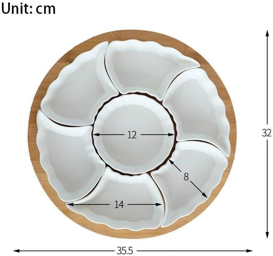 Table en C/éramique Pure Porcelaine Blanche De Caf/é Creative Plate Snack Noix Bo/îte en Bambou Plateau en Bois WJGJ Plateau De Service,Plateau De Collations,Fruit Compartiment avec Couvercle Plateau
