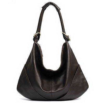 a3b15481f3 Amazon.com  MONFERE Soft Real Genuine Leather Women s Handbag Ladies  Shoulder Bags Purse Hobo Black Brown Female Large Luxury Cowhide Totes  Color COFFEE  ...