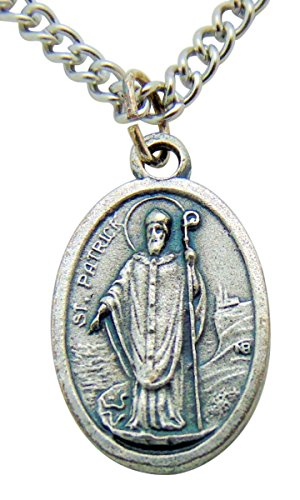 Saint Patrick Necklace (St Patrick Medal 3/4 Inch Metal Saint Pendant with 24 Inch Steel Chain)