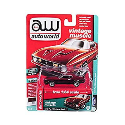 New DIECAST Toys CAR AUTO WORLD 1:64 Premium Hobby Exclusive - 1972 Ford Mustang MACH 1 (Maroon) AWSP011: Toys & Games