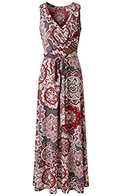Zattcas Womens Bohemian Printed Wrap Bodice Sleeveless Crossover Maxi Dress