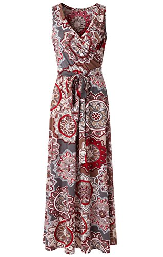 Zattcas Womens Bohemian Printed Wrap Bodice Sleeveless Crossover Maxi Dress,Gray Multi,Large