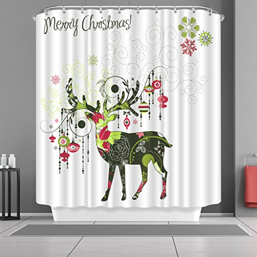 Xmas Merry Christmas Shower Curtain Sets with Hooks Reindeer Pattern Print