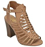 Delicious Womens Woven Strappy Gladiator Peep Toe Platform Chunky Block High Heel Sandals IBZ, Dark Sand 10 B(M) US