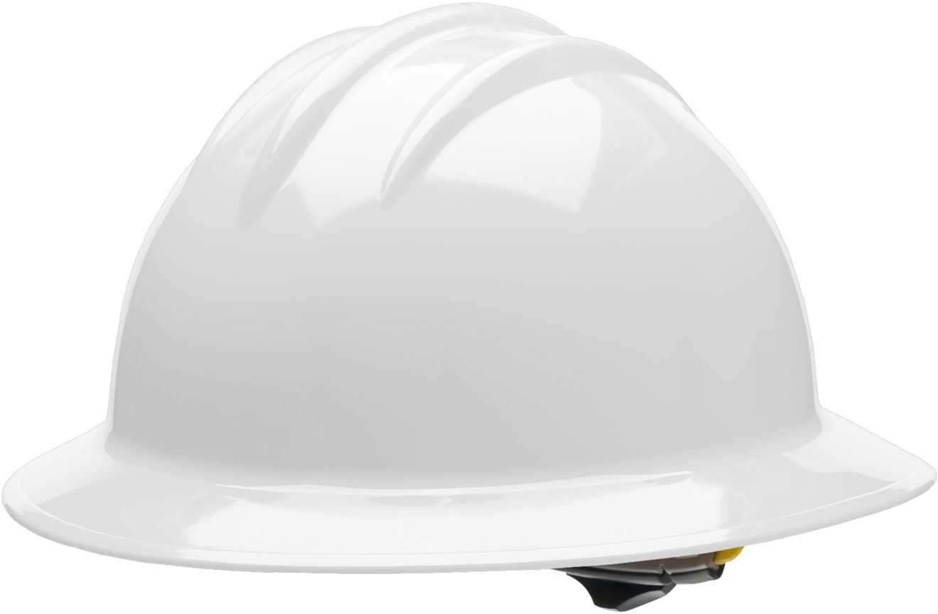 Bullard 33WHR Classic Full Brim Style Hard Hat, 6 Point Ratchet Suspension, White, One Size