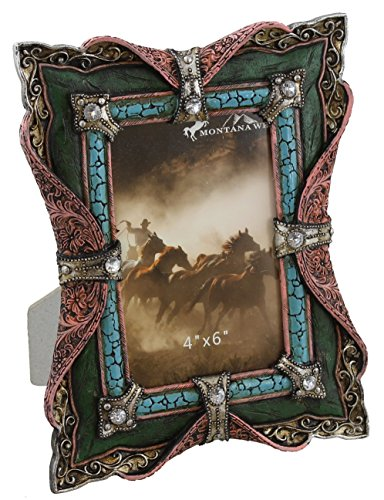 Decorative Faux Leather Turquoise & Rhinestone Picture Photo Frame