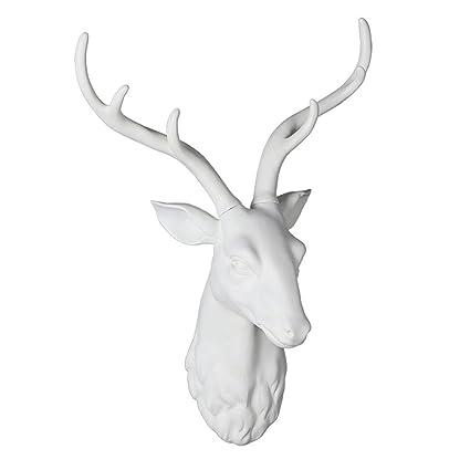 Cabeza de Ciervo Blanco Decoración de Cabeza de Animal Decoración de ...