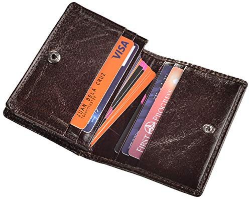 (RFID Mens Slim Front Pocket Wallet Genuine Leather Bifold ID/Credit Card Holder (Coffee with Button))