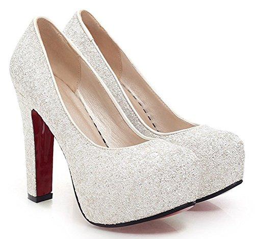 - SFNLD Women's Elegant Sequined Round Toe Platform High Chunky Heel Slip On Wedding Pumps Shoes White 10 B(M) US