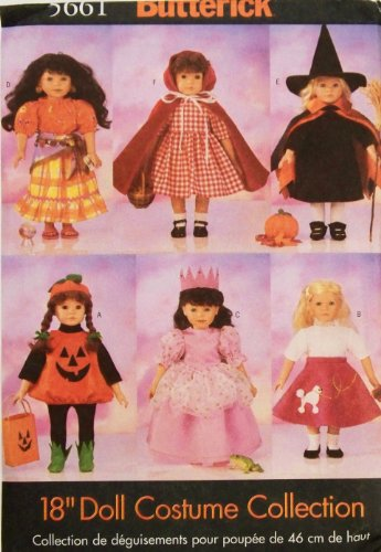 Halloween Patterns Costume Doll Inch 18 (Butterick Sewing Pattern 5661 18 inch Doll Halloween)