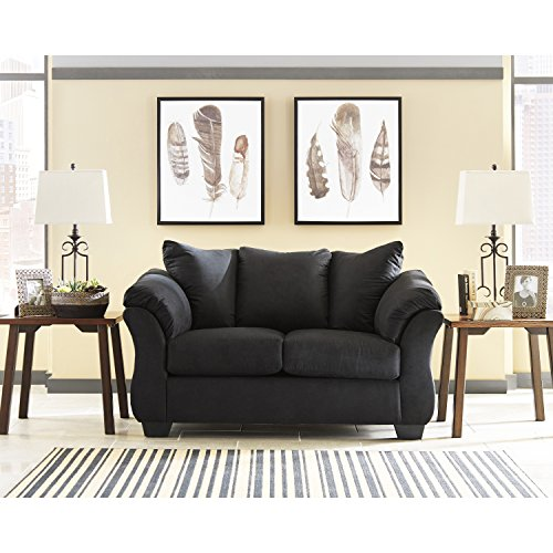 Flash Furniture Signature Design by Ashley Darcy Loveseat in Black Microfiber (Seat Banquette)