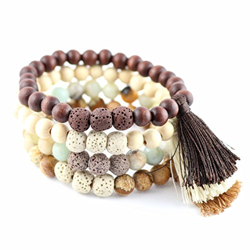 New Lava Rock Natural Stone Essential Oil Diffuser Tassel Bracelet | Distance Friendship Mala Tibetan Praying Beaded Bracelet Jewelry Box (Small-Medium, 4 Pcs Set -Calm Within- Brown Beige.)