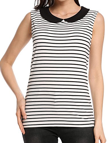 Soteer Women Casual Peter Pan Collar Sleeveless Striped Back Hollow Out Elastic Tank Tops