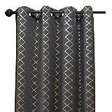 dark grey curtains the range Kashi Home Natalie Printed Grommet 54 X 84 Blackout Curtain, Dark Grey/Gold