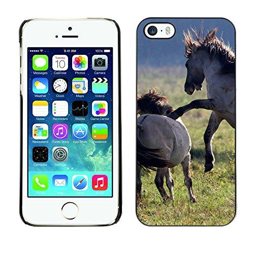 Premio Sottile Slim Cassa Custodia Case Cover Shell // F00004062 chevaux jouant // Apple iPhone 5 5S 5G