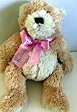 Plush HARRODS BEIGE/White TEDDY BEAR w/ PINK BOW 14