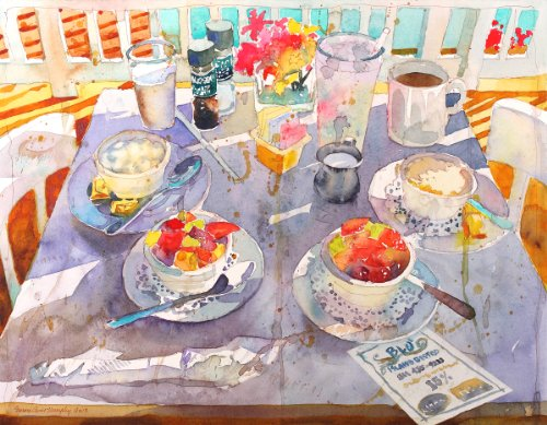 Fruit and Grits At Blu' Island, Archival Print of Watercolor Painting, Still Life of Breakfast with Flowers and Coffee, 14 X 18 Inches