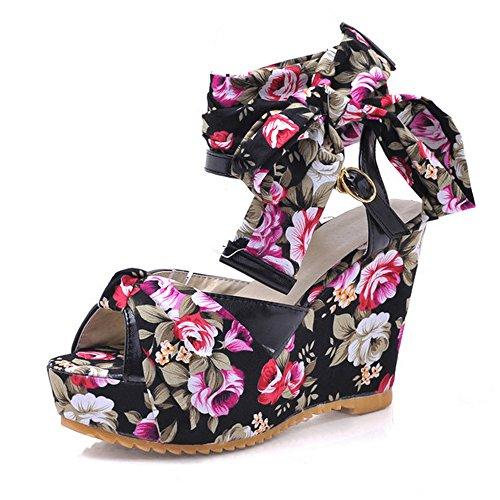 Sandalen Lace Floral Keilabsatz Damenmode Schuhe Schwarz CoolCept Up Hoher 1AY7qw