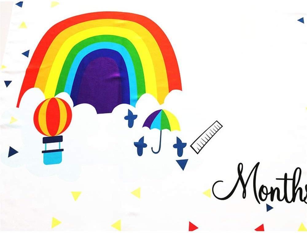 Manta mensual bebé Milestone Blanket Premium Kids grande Bebé Realeza Mensual Crecimiento suave Foto Telón de fondo Alfombra Rainbow Growth Photo Mat for Unisex Bebé Regalos de ducha para niños o niña