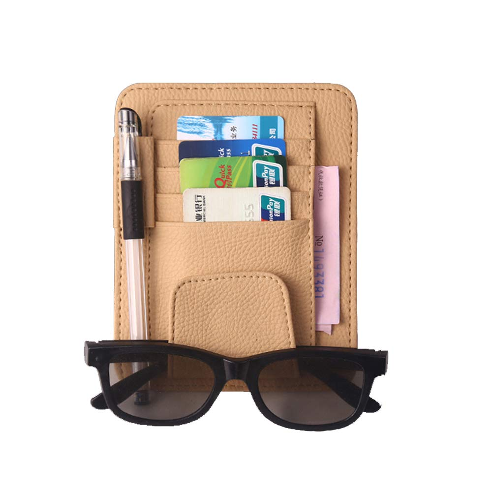 HerMia Car Sun Visor Organizer Holder Multi-Function Glasses and Card Clip Leather Holder Universal Car Auto Card Clip Storage Pouch Bag Beige