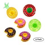 6pcs Inflatable Drink Holder Float Mini Donuts Fruit Cup Holders Floats Coasters Magical Style Summer Lounger Beach Toys Swimming Pool Toy for Bath