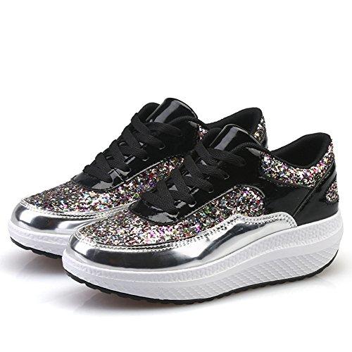 Le Paillettes Delle Sneakers Da Donna Fashion Wedge Mantengono Il Pizzo Caldo Sulle Scarpe Vistose Di Base Di Btrada Silver