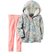Carter's Baby Girls' 2 Piece Playwear Sets, Sherpa Gray Floral Pink, 3 Months