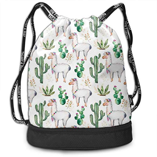 Drawstring Backpack bags, Hot South Desert Plant Cactus Pattern With Camel Animal Modern Colored Image