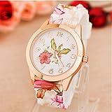 Clearance Watch Daoroka Fashion Women Girl Watch Silicone Printed Flower Causal Quartz Wrist Watches Jewelry Gift