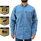 Benchmark FR Silver Bullet, 5.1 oz Ultra Lightweight FR Shirt, NPFA 2112 & CAT 2, Moisture Wicking, Men's FRC with 9 Cal rating, Made in USA, Advanced FR Materials, Light Blue, L Tall