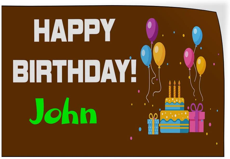 Custom Door Decals Vinyl Stickers Multiple Sizes Happy Birthday Boy Name Brown Holidays and Occasions Happy Birthday Outdoor Luggage /& Bumper Stickers for Cars Brown 27X18Inches Set of 5