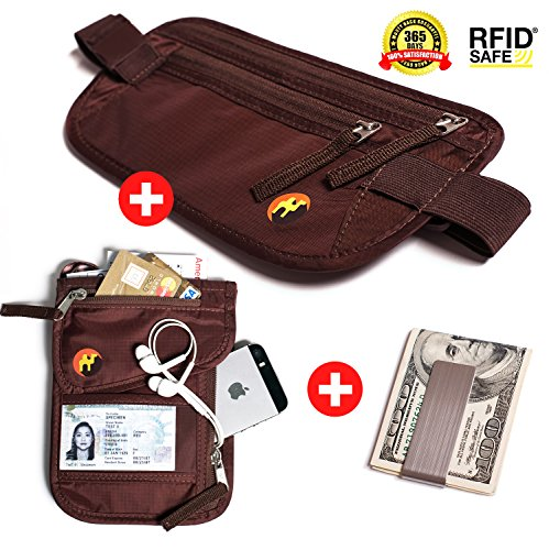 RFID Money Belt & RFID Neck Pouch with Premium Stainless Steel Money Clip. Hidden undercover