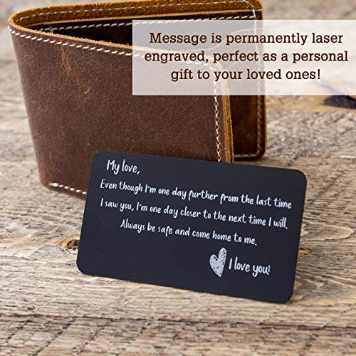 Engraved Metal Wallet Card with Gift Bag I Miss You Reminder Note Card for  Husband - Long Distance Relationship Valentines Day Gift - Military