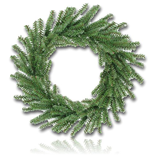 "Custom & Unique (16"" Inches) 1 Single Mid-Size Decorative Holiday Wreath for Door, Made of PVC & Metal w/ Artificial Canadian Pine Tree Evergreen Winter Festival Christmas Pine Branches Style (Evergreen Branches)"