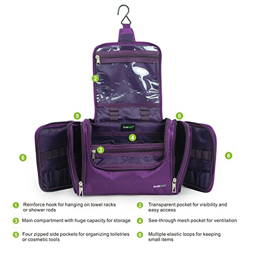Lavievert Toiletry Bag/Makeup Organizer/Cosmetic Bag/Portable Travel Kit Organizer/Household Storage Pack/Bathroom Storage with Hanging for Business, Vacation, Household - Purple by Lavievert (Image #3)
