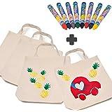 German Trendseller®- 10 x Kinder Stoffbeutel Kindergarten + Gratis: 16 x Bunte Textilstifte ┃ 38 x 42 cm ┃