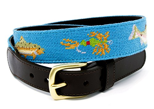 Fly Fishing Needlepoint Men's Belt Hand-stitched Using Top Quality Cotton on Full Grain Leather Backing (Size ()