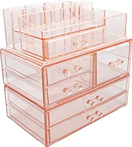 Sorbus Acrylic Cosmetics Makeup and Jewelry Storage Case Display Sets -Interlocking Drawers to Create Your Own Specially Designed Makeup Counter -Stackable and Interchangeable (Pink)